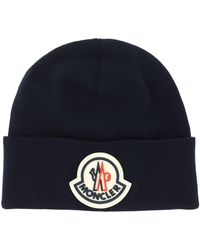 Moncler Logo Patched Beanie - Blue