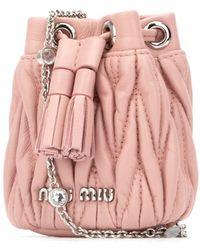Miu Miu Matelassé Mini Shoulder Bag - Pink