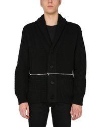 Alexander McQueen Wool Knit Cardigan With Zip Detail - Black