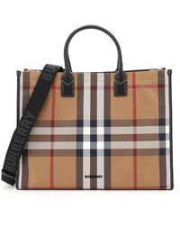 Burberry Check Print Top Handle Tote Bag - Brown