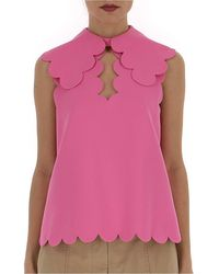 Mulberry Sleeveless Scallop Edge Blouse - Pink