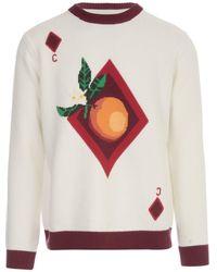 CASABLANCA Fruit Knitted Crewneck Sweater - White