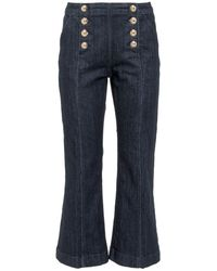 MICHAEL Michael Kors Embossed-buttons Cropped Flared Jeans - Blue