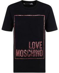 Love Moschino Glitter Logo Printed T-shirt - Black