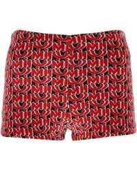 Miu Miu Allover Logo Chenille Shorts - Red