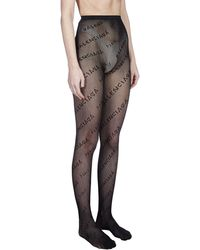 Balenciaga Logo Intarsia Tights - Black