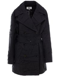 MM6 by Maison Martin Margiela Crinkled Effect Belted Trench Coat - Blue