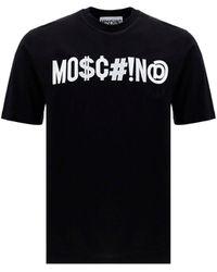Moschino Logo Printed Crewneck T-shirt - Black