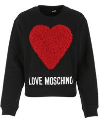 Love Moschino Logo Printed Crewneck Sweatshirt - Black