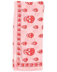 Alexander McQueen Silk Skull Scarf - Pink