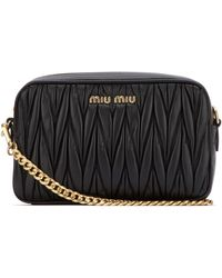 Miu Miu Matelassé Crossbody Bag - Black