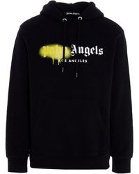 Palm Angels Sprayed La Logo Popover Hoody - Black
