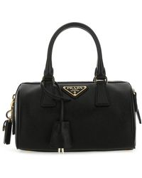 Prada Logo Plaque Top Handle Tote Bag - Black