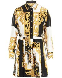 Versace Baroque Print Belted Shirt Dress - Multicolor