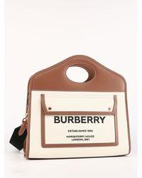 Burberry Small Pocket Tote Bag - Natural