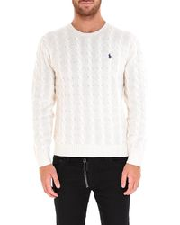 Polo Ralph Lauren Signature Logo Embroidered Cable Knit Sweater - White