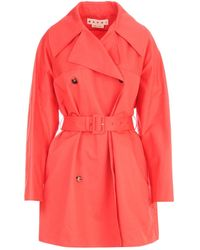 Marni Double Breasted Trench Coat - Red