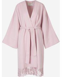 Zimmermann Fringed Wool Coat - Pink