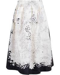 Etro Graphic Printed Midi Skirt - White