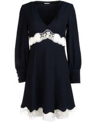 Miu Miu Gathered Lace-detail Dress - Blue