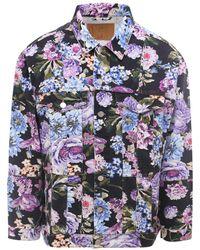Martine Rose Floral Print Buttoned Denim Jacket - Blue
