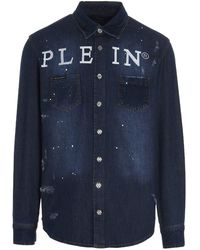 Philipp Plein Paint Splatter Logo Print Shirt - Blue