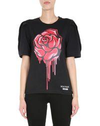Boutique Moschino Rose Print T-shirt - Black