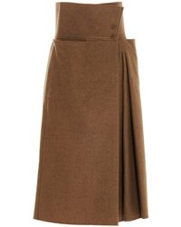 Lemaire Pleated Skirt - Brown