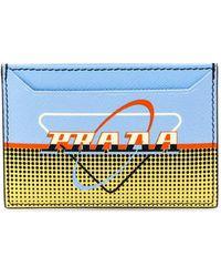 Prada Retro Logo Leather Card Holder - Blue