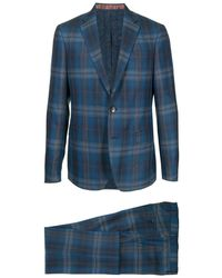 Etro Checked Two-piece Suit - Blue