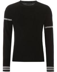 Neil Barrett Off-centred Stripe Detail Jumper - Black