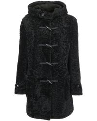 Saint Laurent Shearling Hooded Duffle Coat - Black