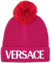 Versace Fuchsia Wool Beanie Hat - Pink