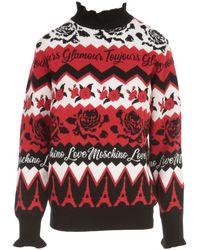 Love Moschino Slogan Intarsia Knit Jumper - Red