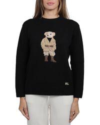 Ralph Lauren Embroidered Bear Crewneck Jumper - Black