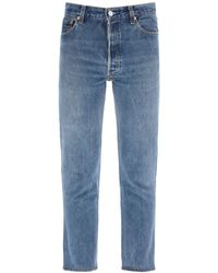 RE/DONE High Rise Sankle Crop Jeans - Blue