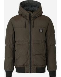 Stone Island Iridescent Hooded Down Jacket - Green