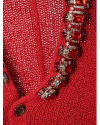 Undercover Embellished Buttoned Cardigan - Red