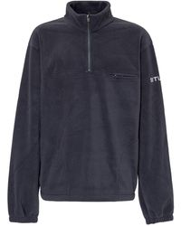 Stussy Half Zip Polar Mock Neck Fleece Sweatshirt - Blue