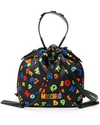 Moschino Numbers And Letters Print Medium Satchel Bag - Black