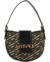 Versace Logo Plaque Greca-print Tote Bag - Black