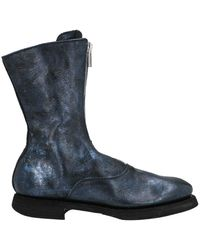 Guidi 310 Front Zip Ankle Boots - Blue
