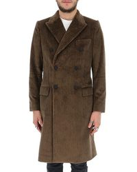 Dolce & Gabbana Double Breasted Corduroy Coat - Brown