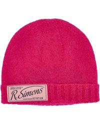 Raf Simons Logo Patch Beanie - Pink