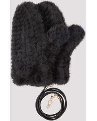 Max Mara Nevada Knitted Fur Gloves - Black