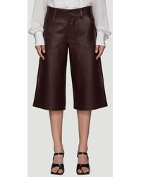 Bottega Veneta Leather Shorts - Brown