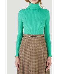 Gucci Fine Rib Knit Turtleneck Sweater - Green