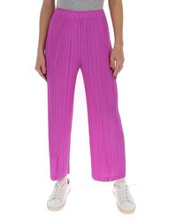 Pleats Please Issey Miyake Slit Front Pants - Pink