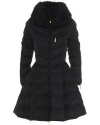 Elisabetta Franchi Faux Fur Flared Padded Coat - Black