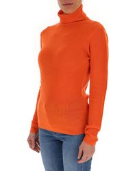 Ganni Turtle-neck Open-back Sweater - Orange